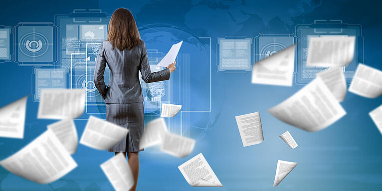 Back view of businesswoman holding papers in hands-1
